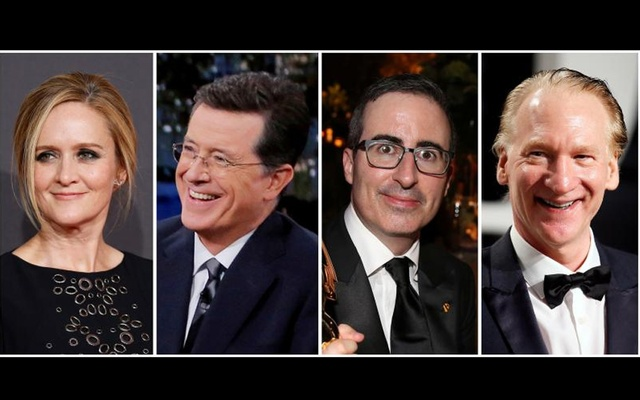 A combination photo shows L-R, Samantha Bee, Stephen Colbert, John Oliver and Bill Maher in Reuters files. Reuters