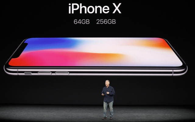 Apple's Schiller introduces iPhone X during a launch event in Cupertino. Photo: Reuters.
