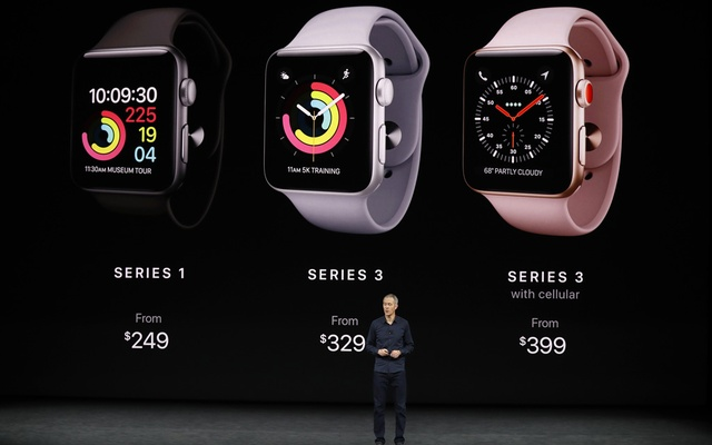 Jeff Williams, Apple COO, speaks as product images are shown behind him during a launch event in Cupertino, California on Tuesday. Photo: Reuters.