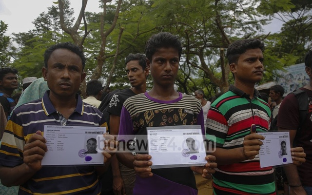 Rohingya refugees with their biometric registration cards in hand. Photo: mostafigur rahman