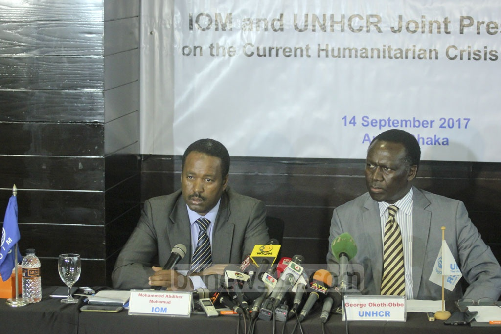 Representatives of the International Organization for Migration and the UN refugee agency UNHCR speak at a joint news conference on the Rohingya refugee crisis at a hotel in Dhaka on Thursday.