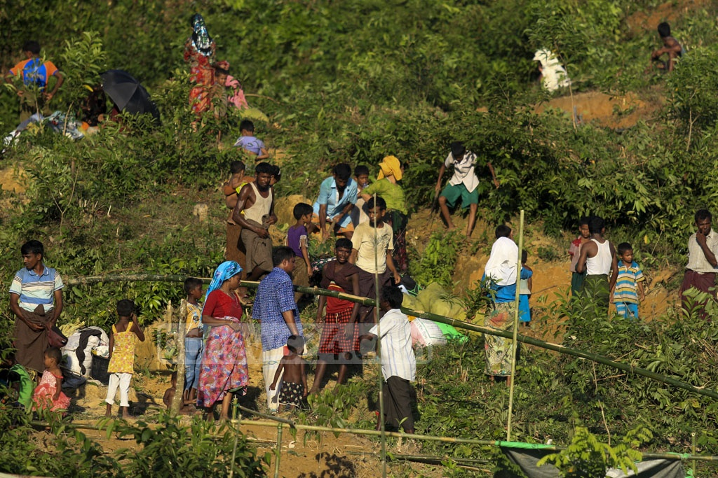 Newly arrived Rohingya refugees are cutting trees on a hill at Palongkhali in Ukhia, Cox's Bazar to make shelters for themselves. Photo: muhammad mostafigur rahman
