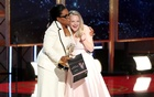 69th Primetime Emmy Awards – Show – Los Angeles, California, US, 17/09/2017 - Oprah Winfrey embraces Elizabeth Moss as she presents