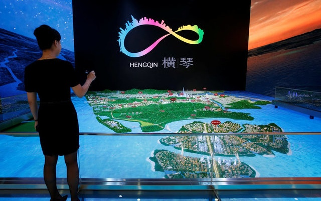 A layout of Hengqin under development is displayed inside a Government showroom at Hengqin Island adjacent to Macau, China September 13, 2017. Reuters