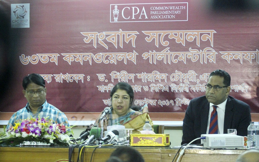 Parliament Speaker Shirin Sharmin Chaudhury holds a media briefing on Tuesday, ahead of the 63th Commonwealth Parliamentary Conference.