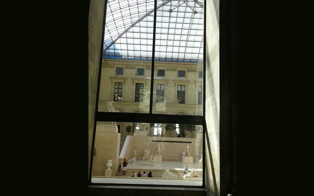 Looking through a window in Louvre. Photo by author