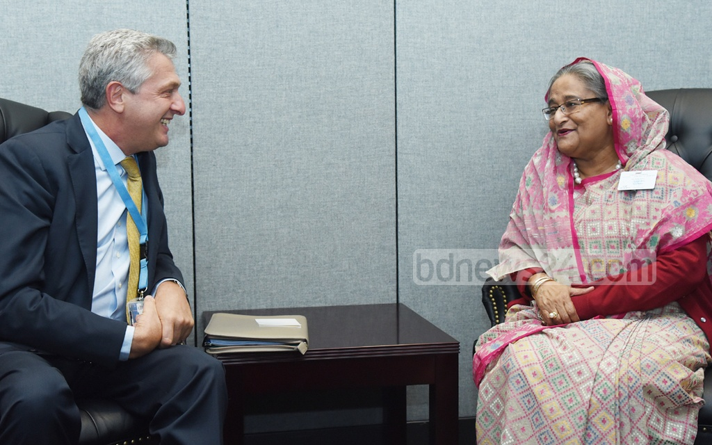Prime Minister Sheikh Hasina meets the Chief of the UN High Commissioner for Refugees, Filippo Grandi, at the United Nations headquarters in New York on Monday. Photo: Saiful Islam Kallol