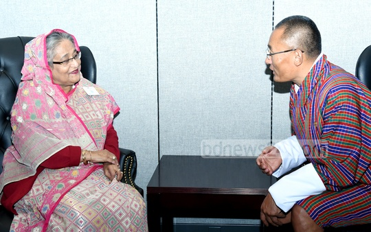 Prime Minister Sheikh Hasina holds a meeting with her Bhutanese counterpart Tshering Tobgay at the United Nations headquarters in New York on Monday. Photo: Saiful Islam Kallol