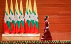Myanmar State Counselor Aung San Suu Kyi walks off the stage after delivering a speech to the nation over Rakhine and Rohingya situation, in Naypyitaw, Myanmar Sept 19, 2017. Reuters