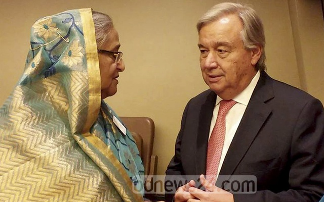 File Photo: Prime Minister Sheikh Hasina speaks to UN Secretary General Antonio Guterres at the UN headquarters in New York on Sept 20, 2017. Photo: Saiful Islam Kallol
