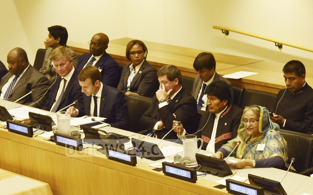 Prime Minister Sheikh Hasina at the 'Summit on Global Pact for the Environment' at the UN headquarters on Tuesday. Photo: Saiful Islam Kallol