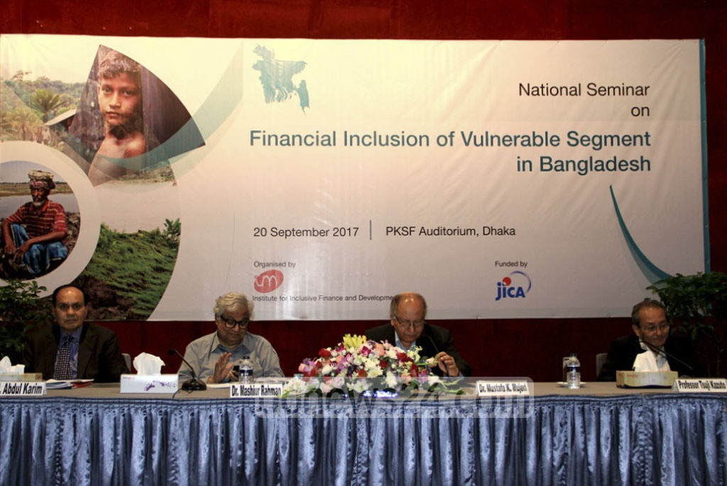 Research organisation INM holds a seminar on financial assistance programs to marginalised groups at the PKSF building on Wednesday.