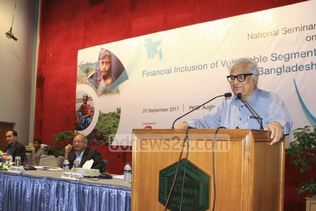Adviser to the Prime Minister Mashiur Rahman attends a seminar on financial assistance programs to marginalised groups at the PKSF building on Wednesday.