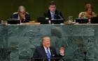Secretary-General Guterres reacts as he and president of the General Assembly Lajcak listen to US President Donald Trump as he addresses the 72nd United Nations General Assembly at UN headquarters in New York.