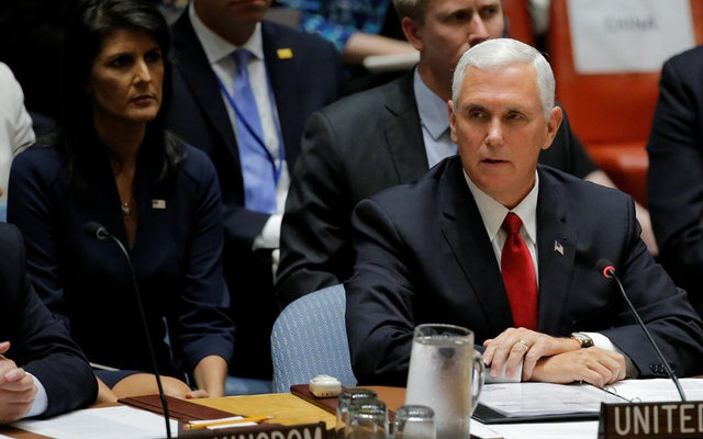 US Vice President Mike Pence speaks during a meeting of the Security Council to discuss peacekeeping operations during the 72nd United Nations General Assembly at UN headquarters in New York, US, September 20, 2017. Reuters