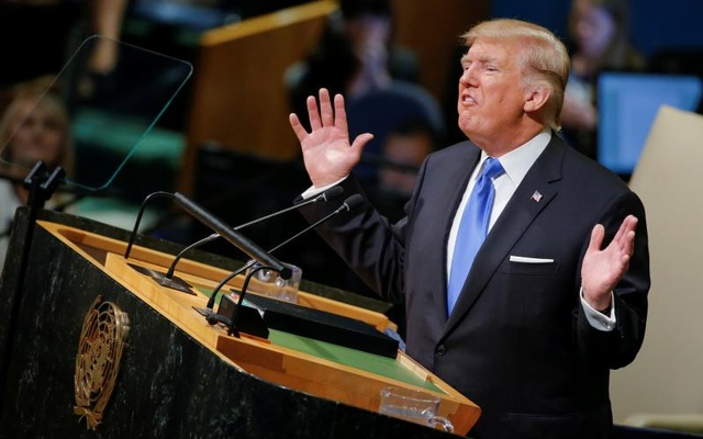 US President Donald Trump addresses the 72nd United Nations General Assembly at UN headquarters in New York, US, September 19, 2017. Reuters