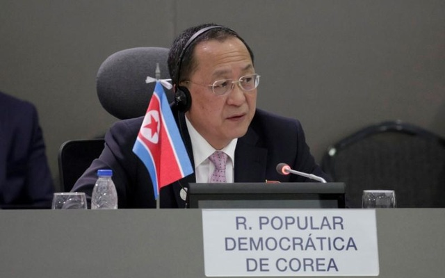 North Korea's Foreign Minister Ri Yong-ho speaks during the 17th Non-Aligned Summit in Porlamar, Venezuela Sept 15, 2016. Reuters