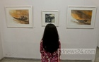 A visitor looks at an watercolour of Shahanoor Mamun at the artist's solo exhibition at Galleri Kaya in the capital's Uttara on Friday. Photo: tanvir ahammed