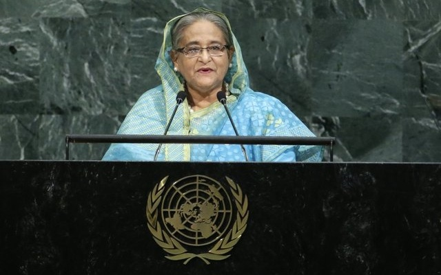 Bangladeshi Prime Minister Sheikh Hasina addresses the 72nd United Nations General Assembly at U.N. headquarters in New York, U.S., September 21, 2017. Reuters