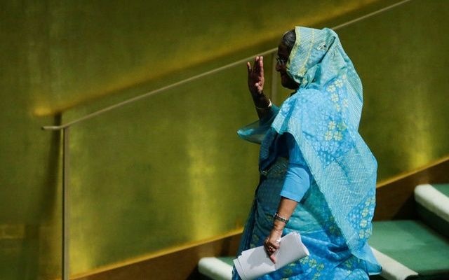 Bangladeshi Prime Minister Sheikh Hasina departs after addressing the 72nd United Nations General Assembly at U.N. headquarters in New York, U.S., September 21, 2017. Reuters