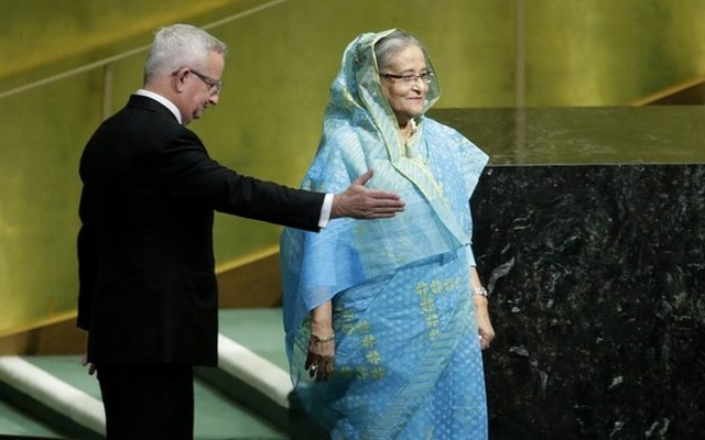 Bangladeshi Prime Minister Sheikh Hasina arrives to address the 72nd United Nations General Assembly at U.N. headquarters in New York, U.S., September 21, 2017. Reuters