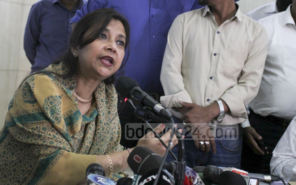 State Minister for Telecom Tarana Halim speaks on the regulations and monitoring of mobile phone SIM sales to Rohingyas at BTRC in Dhaka on Saturday. Photo: asif mahmud ove