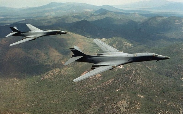 File Photo: A pair of B-1B Lancer bombers soar over Wyoming in an undated file photo. Staff Sgt Steve Thurow/US Air Force/Handout via REUTERS