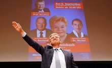 The leader of Germany's far-right Alternative for Deutschland (AfD) Joerg Meuthen gestures as he campaigns in Pforzheim, Germany Sept 6, 2017. Reuters