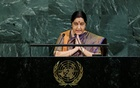 Indian External Affairs Minister Sushma Swaraj addresses the 72nd United Nations General Assembly at UN headquarters in New York, US, Sept 23, 2017. Reuters