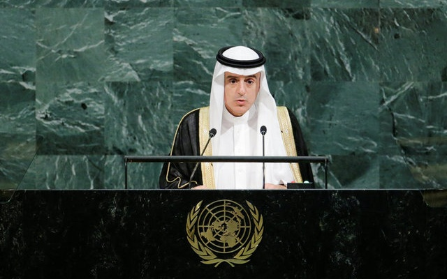 Saudi Arabia's Foreign Minister Adel bin Ahmed Al-Jubeir addresses the 72nd United Nations General Assembly at UN headquarters in New York, US, September 23, 2017. Reuters
