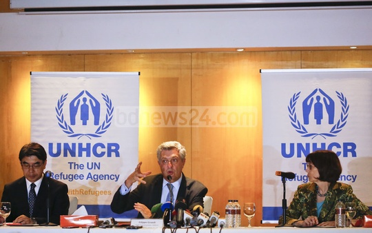 United Nations High Commissioner for Refugees Filippo Grandi speaks on the Rohingya crisis at a media briefing at Gulshan's Hotel Amari on Monday. Photo: mostafigur rahman