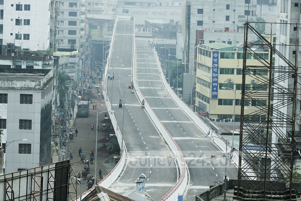 A top view of the Moghbazar-Mouchak flyover at Dhaka's Malibagh. Photo: abdul mannan