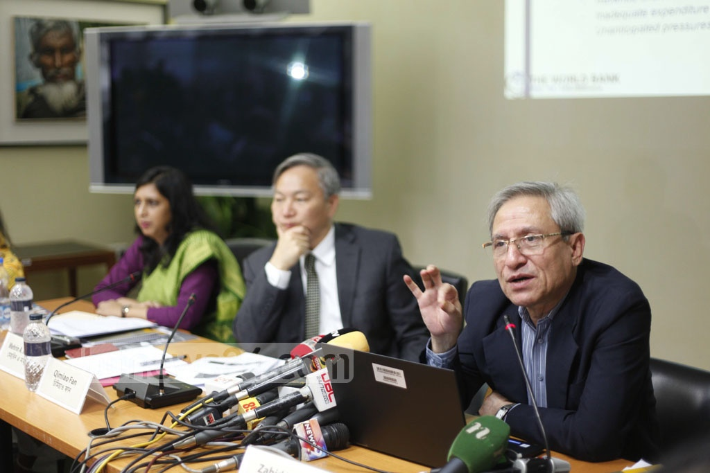 Chief economist of the World Bank Dhaka office Zahid Hussain addressing a press conference organised on the occasion of releasing 'Bangladesh Development Update' at his office in Agargaon in the capital on Wednesday.