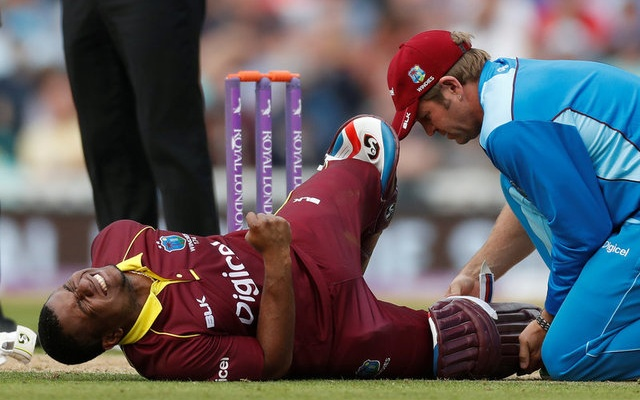 West Indies Evin Lewis receives medical attention after sustaining an injury Action Images via Reuters  Paul Childs