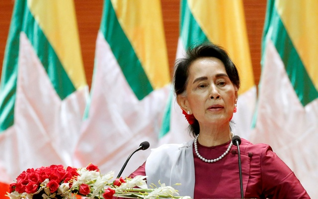 Myanmar State Counselor Aung San Suu Kyi delivers a speech to the nation over the Rakhine and Rohingya situation, in Naypyitaw, Myanmar September 19, 2017.