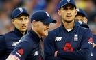 England vs West Indies - Third One Day International - Brightside Ground, Bristol, Britain - September 24, 2017 England's Ben Stokes and Alex Hales wait for a review after Adil Rashid runs out West Indies' Chris Gayle Action Images via Reuters