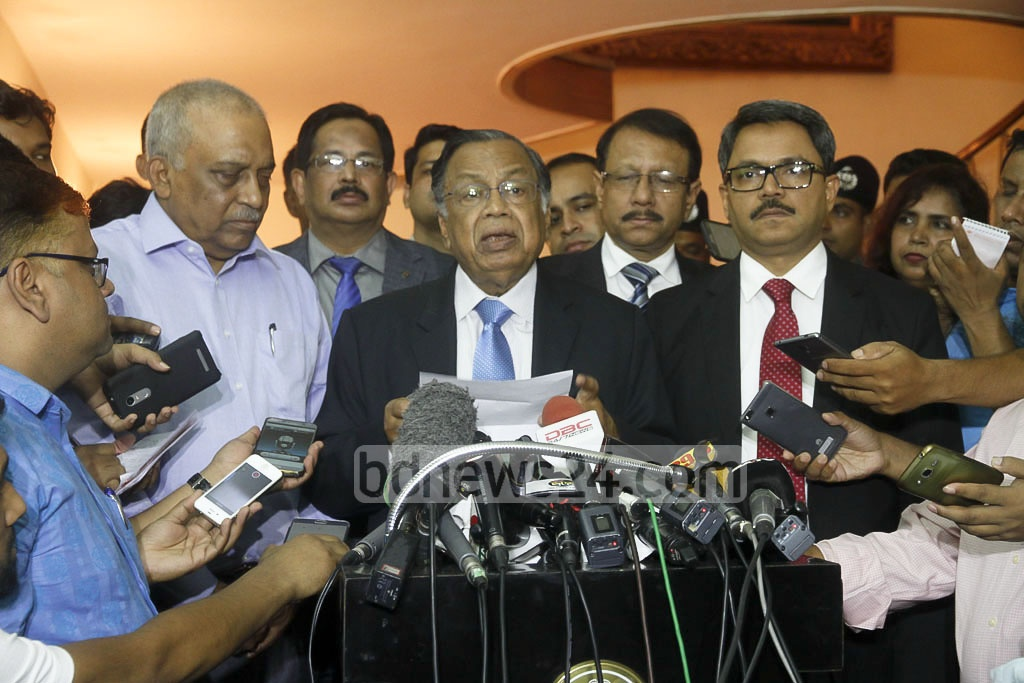 Foreign Minister AH Mahmood Ali briefs the media after discussing the Rohingya refugee crisis with visiting Myanmar officials on Monday. Photo: tanvir ahammed