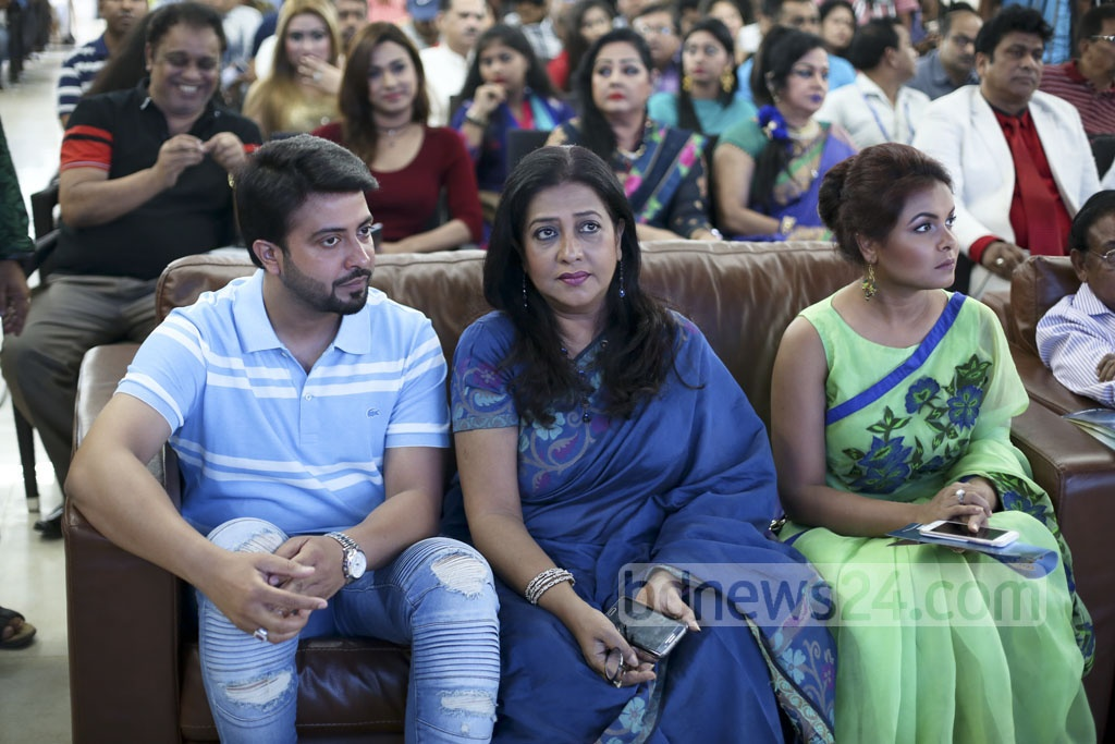 Actor Shakib Khan, actress Suborna Mustafa and Meher Afroz Shaon at an orientation programme of 'Bangladesh Film Forum' organised at Dhaka Club on Monday. Photo: abdul mannan