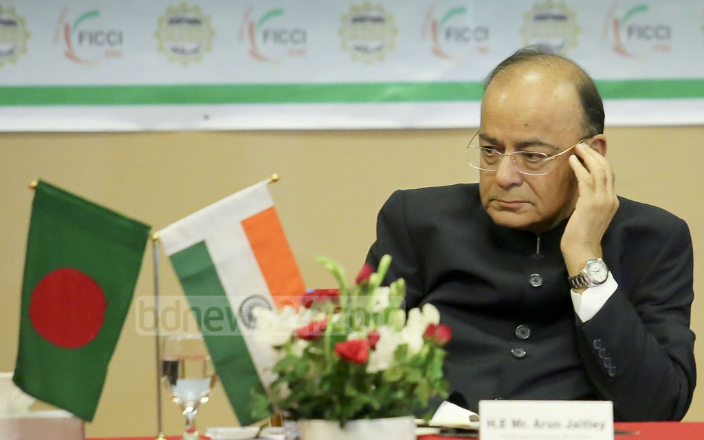 Indian Foreign Minister Arun Jaitley attends a discussion on India-Bangladesh trade relations at Dhaka's Pan Pacific Sonargaon Hotel on Tuesday. Photo: md asaduzzaman pramanik