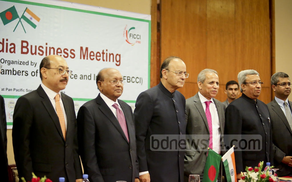 Business leaders and top government figures attend a programme on India-Bangladesh trade relations at Dhaka's Pan Pacific Sonargaon Hotel on Tuesday. Photo: md asaduzzaman pramanik