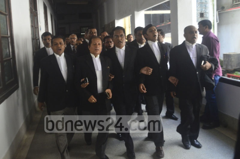 Pro-BNP lawyers demonstrated at the Supreme Court premises on Tuesday claiming the chief justice has been forced to go on leave. Justice SK Sinha sought a 30-day leave on Monday.