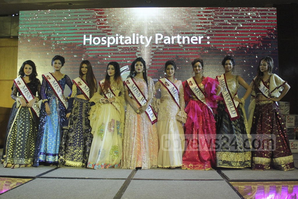 Miss World Bangladesh contestants pose during a ceremony to crown a new winner of the title at Dhaka's Hotel Westin. Photo: abdul mannan