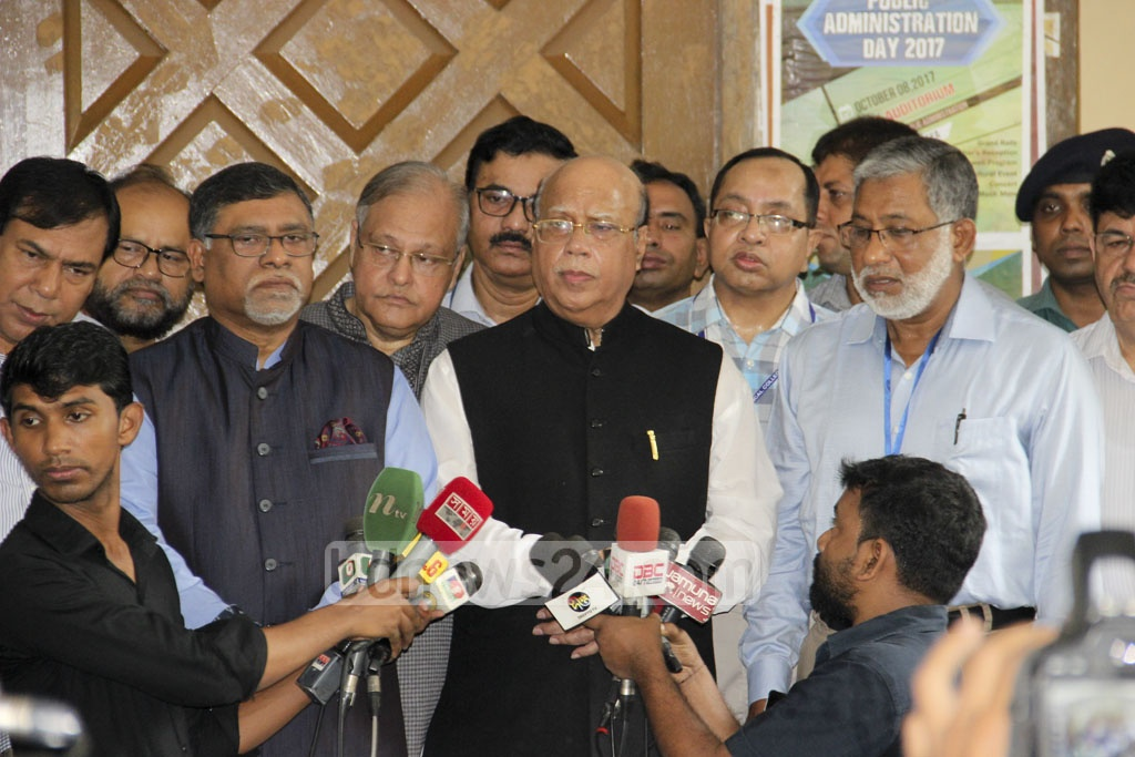 Health and Family Welfare Minister Mohammed Nasim speaks to the media while visiting a examination centre of medical college admission test at Dhaka University on Friday.
