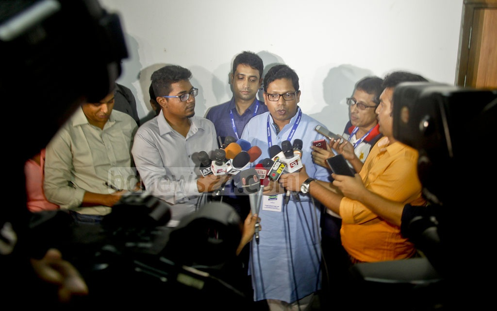 State Minister for Information and Communication Technology Zunaid Ahmed Palak speaks to media after inaugurating the training workshop on digital marketing on Facebook organised for tech-savvy youths at ICT Tower in Agargaon on Monday.