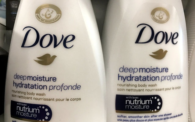 Two bottles of Dove's Deep Moisture body wash are displayed in Toronto, Ontario, Canada, October 8, 2017. Reuters