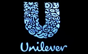 FILE PHOTO: The company logo for Unilever is displayed on a screen on the floor of the New York Stock Exchange (NYSE) in New York, US, February 17, 2017. Reuters