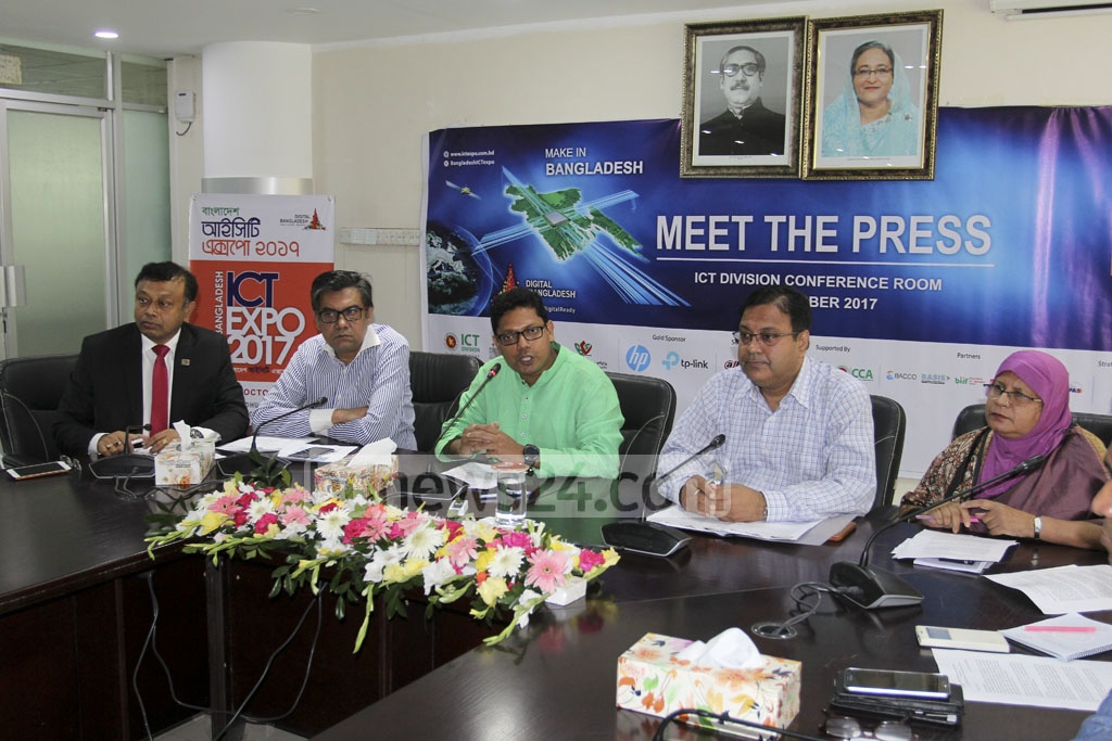 State Minister for ICT Zunaid Ahmed Palak addresses a media briefing on Wednesday over the Bangladesh ICT Expo. The three-day exposition starts on Oct 18. Photo: asif mahmud ove