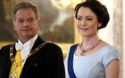 Finland's President Sauli Niinisto and his wife Jenni Haukio look on before a dinner held at the Presidential Castle in Helsinki, Finland, June 1, 2017. Reuters