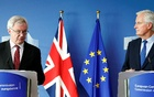 Britain's Secretary of State for Exiting the European Union David Davis (L) and European Union's chief Brexit negotiator Michel Barnier talk to the media, ahead of Brexit talks in Brussels, Belgium Sept 25, 2017. Reuters