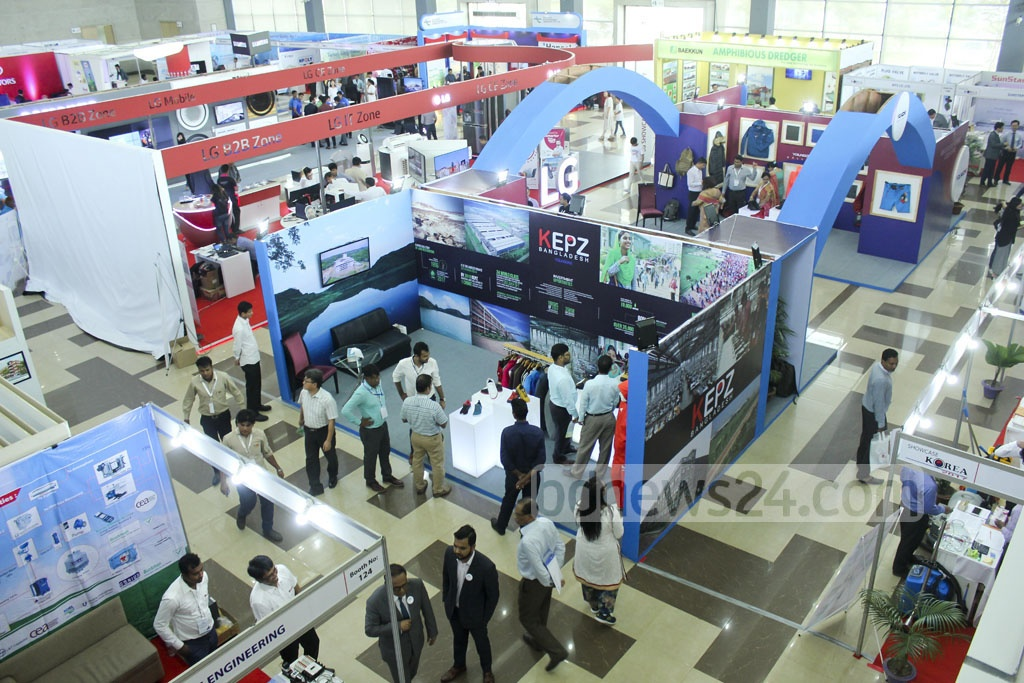 South Korean firms are displaying their products at a two-day exhibition titled 'Showcase Korea' in Dhaka's Convention City Bashundhara on the opening day on Friday.